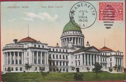 New State Capitol United States USA Rare Old Postcard 1906 Cachet Jeanerette - Jackson