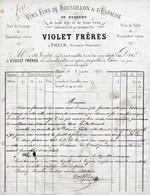 1873 - THUIR (66) - VIOLET FRÈRES - Vins Fins Du Roussillon De Dessert  - Spécialité De VERMOUTH - Documentos Históricos