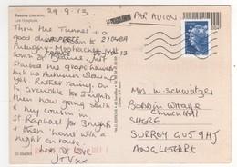 Beau Timbre Courant Bleu , De Roulette , à Destination De L'Europe , Sur Cp , Carte , Postcard Du 15/10/2013 - France