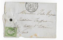 1861 - EMPIRE 5c Sur ENVELOPPE LOCALE (OUVERTE SUR 3 COTES) De PARIS DS1 - COTE = 400 EUR. - Marcophilie (Lettres)