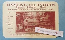 Publicité & Facture - DIJON - Hôtel De Paris - R. Fiol - Brasserie Restaurant Glacier - 21 Côte D'or - Cf 2 Photos - 1900 – 1949