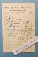 Facture AIX LES BAINS Hôtel De La Régence - Coquoz Propriétaire - Place De La Gare - Savoie 73 - 1900 – 1949