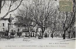 PONT SAINT ESPRIT ( Le Gard Illustré ) : Cours Du Midi Et Statue De La Navigation (1926 ) - Pont-Saint-Esprit