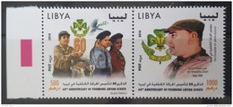 L21 - Libya 2014 MNH Cplte Set 2v. In One Strip - 60th Anniv Of Founding Libyan Scouts - Jamboree - Libya