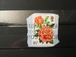 FRANCOBOLLI STAMPS GRAN BRETAGNA GREAT BRITAIN 1976 USED SU FRAMMENTO ROSE OBLITERE'  FRAGMENT - 1952-.... (Elisabetta II)