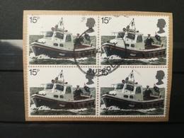 FRANCOBOLLI STAMPS GRAN BRETAGNA GREAT BRITAIN 1979 USED SU FRAMMENTO QUARTINA POLIZIA OBLITERE'  FRAGMENT - 1952-.... (Elisabetta II)