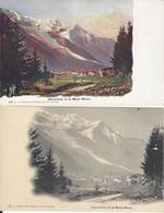 74 CHAMONIX MONT BLANC LE VILLAGE GLACIER DES BOSSONS CARTE AQUARELLE UNE NB  EDITEUR CHARNAUX 143 143C - Chamonix-Mont-Blanc