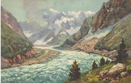 74 CHAMONIX MONT BLANC  GLACIER DE LA MER CARTE D ARTISTE ILLUSTRATEUR COLORISEE  EDITEUR CELA 1 / 4 - Chamonix-Mont-Blanc