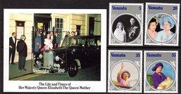 VANUATU - 1985 LIFE & TIMES OF QUEEN ELIZABETH THE QUEEN MOTHER SET (4V) & MS FINE MNH ** SG 406-409, MS410 - Vanuatu (1980-...)