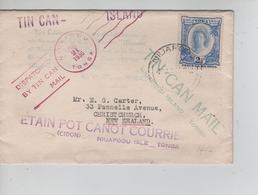 33PR/ Toga(Tonga)  Cover Tin Can Mail C.Niuafoou 21/7/1936 > New Zealand - Tonga (...-1970)