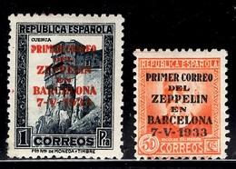 Espagne Deux Timbres Avec Surcharge 1er Vol Zeppelin Barcelona 1933 Neufs *. B/TB. A Saisir! - Barcelone