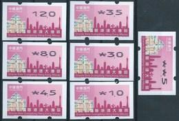 MACAU 2019 GUANDGONG, H.K. & MACAU GREAT BAY ATM LABELS NAGLER 104 SET OF 7 - 1999-... Regione Amministrativa Speciale Della Cina