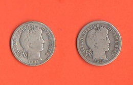 USA One Dime 1904 E 1912 Barber Silver Coins Stati Uniti - Federal Issues