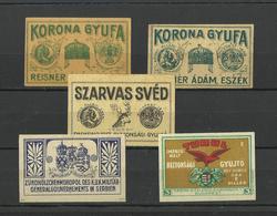 HUNGARY - Lot Of 5 Matchbox LABELS (see Sales Conditions) S/0125 - Cajas De Cerillas - Etiquetas