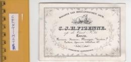 1 Visit Card LEUVEN LOVEN - Op De Vaart Nr 21 C1846 - 11 Cm X 7,4cm  - IN HET GULDEN SCHAEP, FIZENNE Stevens Barella - Cartes De Visite