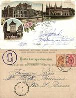 Poland, KRAKOW CRACOW, Multiview Litho, Theatre, Floriańska (1900) Postcard - Polen