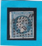 """N° 14 A + OBLIT. DE PARIS  LOS.  """"  D  Romaine """"  Bureau RUE D'ENGHIEN    - REF 14112 +variété - 1853-1860 Napoleon III"""