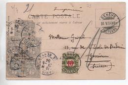 1904 - CP De PARIS Avec TYPE BLANC -> TAXE SUISSE DE GENEVE - Storia Postale