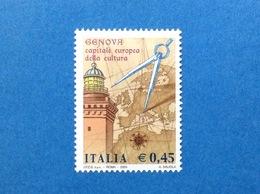 2004 ITALIA GENOVA CAPITALE EUROPEA DELLA CULTURA FRANCOBOLLO NUOVO STAMP NEW MNH** - 6. 1946-.. Repubblica