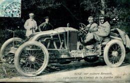 N°345 T -cpa Sisz Sur Voiture Renault Vainqueur Du Circuit De La Sarthe En 1906- - Sport Automobile