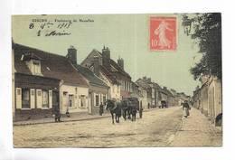27 - GISORS - Faubourg De Neaufles. Attelage. Carte Toilée - Gisors