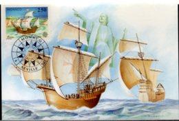 1992 Monaco - Europa CEPT Columbus Seville 1992 Maxicard Shipps, Columbus Statue - Maximumkarten (MC)