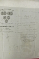 Facture Distillerie Speciale D'absinthe & Kirsch E Cusenier à Ornans 1873 - Francia