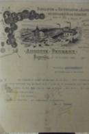 Facture Distillation Et Rectification D'alcools Auguste Peureux Fougerolles 1904 - France