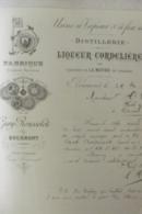Facture Distillerie De La Liqueur Cordeliere Chanoines De La Mothe En Lorraine 1892 - Francia