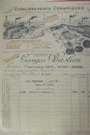 Facture Etablissements Ceramiques Aydoilles &deyvillers Georges Bastien  à Grandvillers 1924 - France