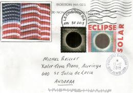 USA Total Solar Eclipse, Lettre Adressée Andorra, Avec Timbre à Date Arrivée - Astronomia