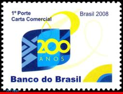 Ref. BR-3033 BRAZIL 2008 HISTORY, BANK OF BRAZIL, 200, YEARS, MNH 1V Sc# 3033 - Histoire