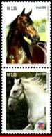 Ref. BR-V2016-08 BRAZIL 2016 RELATIONSHIP, WITH SLOVENIA, HORSES,, SET SE-TENANT MNH 2V - Cavalli