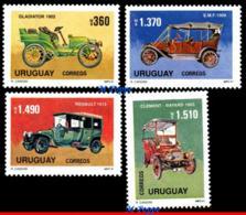 Ref. UR-1394-97 URUGUAY 1991 AUTOMOBILES, OLD CARS,, SET MNH 4V Sc# 1394-1397 - Uruguay
