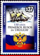 Ref. UR-V2010-01 URUGUAY 2010 SHIPS, BOATS, 150 YEARS OF THE FIRST, RUSSIAN EMIGRANTS, COAT OF ARMS, MNH 1V - Uruguay
