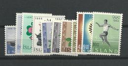 1964 MNH Iceland, Island, Year Complete,posffris - Volledig Jaar