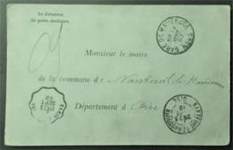 CP AVIS SANITAIRE Poste Sanitaire De FEIGNIES > Maire De NANTEUIL-LE-HAUDOUIN Visite Médicale Voyageur De Mons 1892 - Marcofilia (sobres)