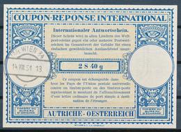 AUTRICHE  / WIEN   -   14.VIII.51  ,  Lo15   -  2 S  40 G    -  Reply Coupon Reponse - Entiers Postaux