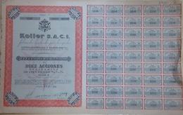 KOLLER S.A.C.I., FABRICANTES DE VEHICULOS PARA TRANSPORTES. 28 DE SEPTIEMBRE DE 1958, CARCARAÑA. ACCION ACTIONS -LILHU - Transporte