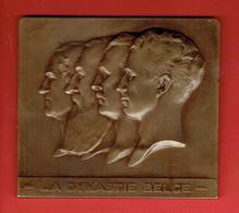 MEDAILLE BRONZE LA DYNASTIE BELGE LES ROIS DE BELGIQUE CENTENAIRE DE FRANCHOMME 1839 1939 GRAVEUR GODEFROID DEVREESE - Monarchia / Nobiltà