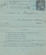 ENTIER. TELEGRAMME. Type CHAPLAIN 50c. NOIR.  PARIS 42 AV. FRIEDLAND - Pneumatic Post