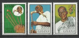 GHANA 1999 BIRTH ANNIVERSARY OF DR.EPHRAIM APU,PIONEER OF GHANANIAN TRADITIONAL MUSIC SET MNH - Ghana (1957-...)