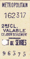 Ancien Ticket  Métropolitain - Métro