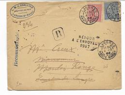 1906- Lettre REC. De LANGRES -haute Marne- 2 Semeuses Lignèes N° 129 Et 132- Retour à L'envoyeur+nom Commun à ... - Marcofilia (sobres)