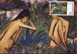 Allemagne - Berlin - Moderne Gemälde - Zwei Badende Mädchen Von Otto Mueller - Sur Carte Maximum - 6627 - Deutschland