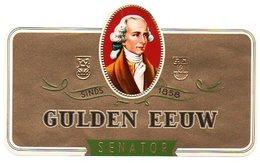 Etiquette De Boîte à Cigares, Lithographiée, Litho GULDEN EEUW - SENATOR (vert). - Etiquetas