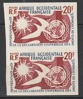 A.O.F - N°74 En Paire ** (1958) Droits De L'homme - NON DENTELE - - Nuevos