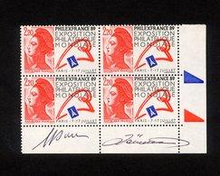 """BLOC DE 4 TIMBRES NEUFS """" PHILEXFRANCE 89 - EXPOSITION PHILATELIQUE MONDIALE """" - SIGNE M.DURAND-MEGRET ET J. LARRIVIERE - Frankreich"""