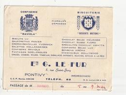 PONTIVY - CONFISERIE BISCUITERIE - ETS G. LE FUR - 5 RUE SAINT JORY - 56 - Publicité