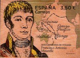 Spain - 2019 - Francisco Antonio Mourelle, Explorer - Mint Self-adhesive Stamp Printed On Real Wood - 2011-... Nuovi & Linguelle